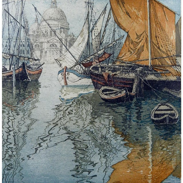 Venice Sailboats Etching by Eidenberger For Sale