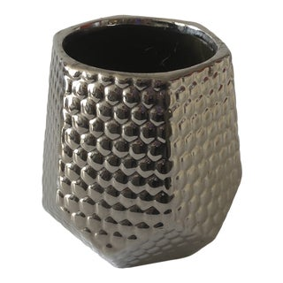 Silver Honeycomb Contemporary Glass Cachepot For Sale