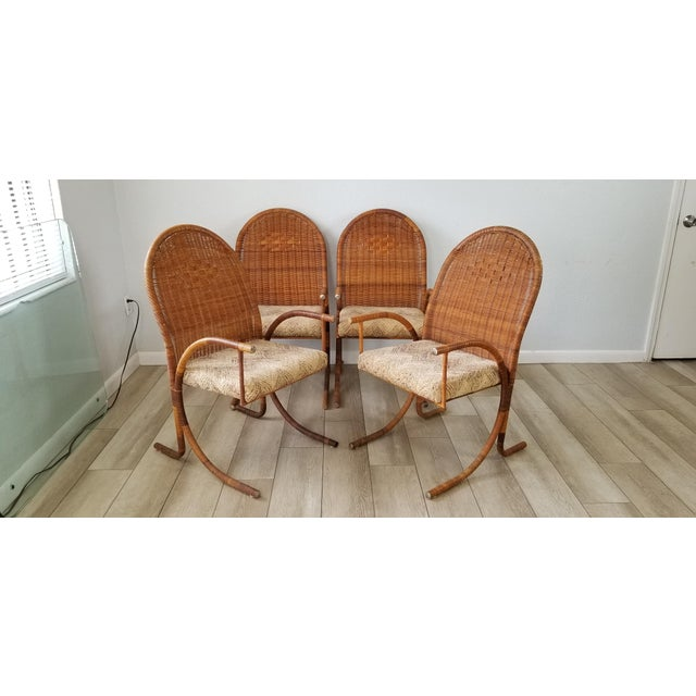 Vintage McGuire Style Woven Wicker Arm Dining Chairs - Set of 4 For Sale - Image 4 of 13