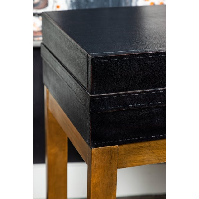 Modern Vintage Leather and Metal Console Table For Sale - Image 3 of 9