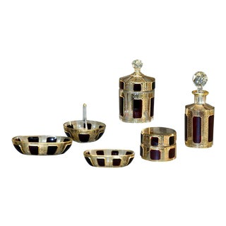 "Moser 6 Pc. Hand Blown and Gilded Ruby ""Cabochons"" Dresser Set For Sale"