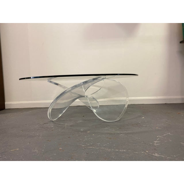 Mid-Century Modern Mid Century Lucite Propeller Base With Glass Top Table For Sale - Image 3 of 6