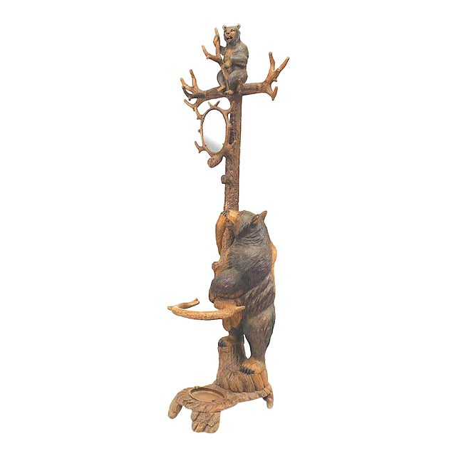 Rustic Black Forest '19th Century' Walnut Hat Rack or Umbrella Stand For Sale