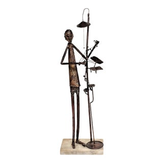 1970s Brutalist Jim Lewk Metal Copper Abstract Sculpture of a Dentist