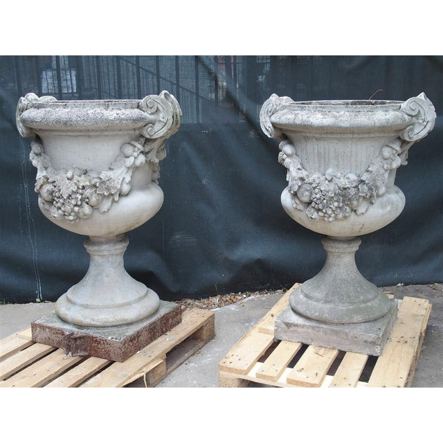 Pair of Large Antique Cast Stone Urns From Italy, Circa 1915 For Sale - Image 13 of 13