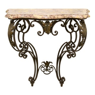 Wrought Iron Wall-Mounted Demilune Table For Sale