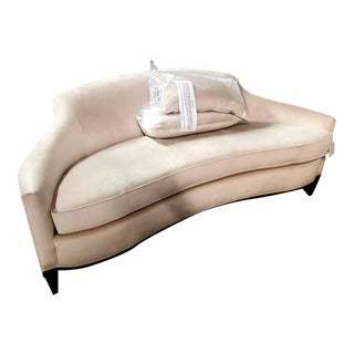 Modern Angles Camel Back Kidney Buff Velvet Loveseat/Mini Sofa For Sale