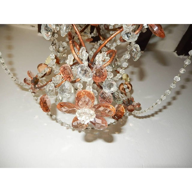 French Pink Maison Baguès Style Crystal Flower Chandelier For Sale - Image 6 of 11