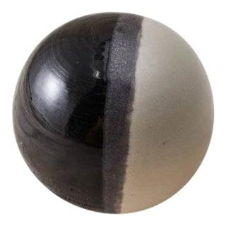 Contemporary Handmade Ceramic Sphere Paperweight - Noir/Blanc For Sale