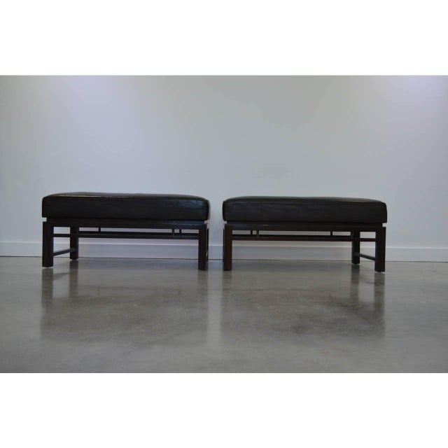 Dunbar Furniture Mid-Century Modern Edward Wormley for Dunbar Benches - a Pair For Sale - Image 4 of 12