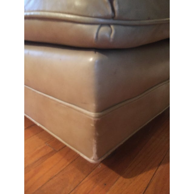 Animal Skin Vintage Distressed Leather Ottoman on Wheels For Sale - Image 7 of 9