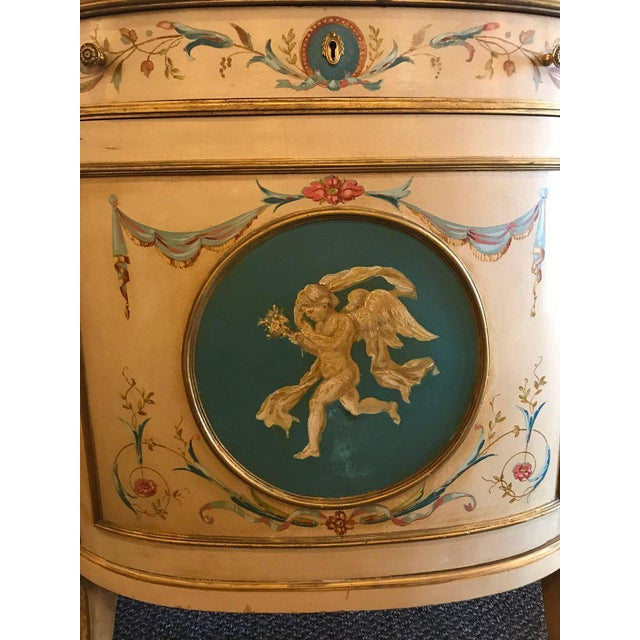 Adams Style Demilune Painted Commodes - A Pair - Image 7 of 11