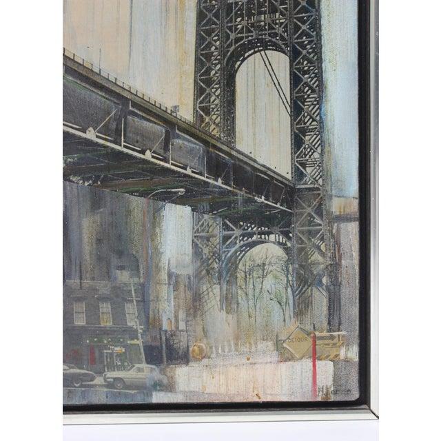 "Mid-Century M. Kaplan ""Brooklyn Bridge"" Oil on Canvas Painting For Sale - Image 4 of 11"