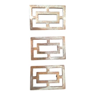 Brass Asian-Inspired Drawer Handle Pulls- Set of 3 For Sale