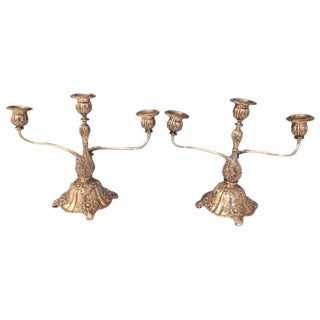 Chrysanthemum by Tiffany & Co. Sterling Silver Candelabra Pair, 3-Light For Sale