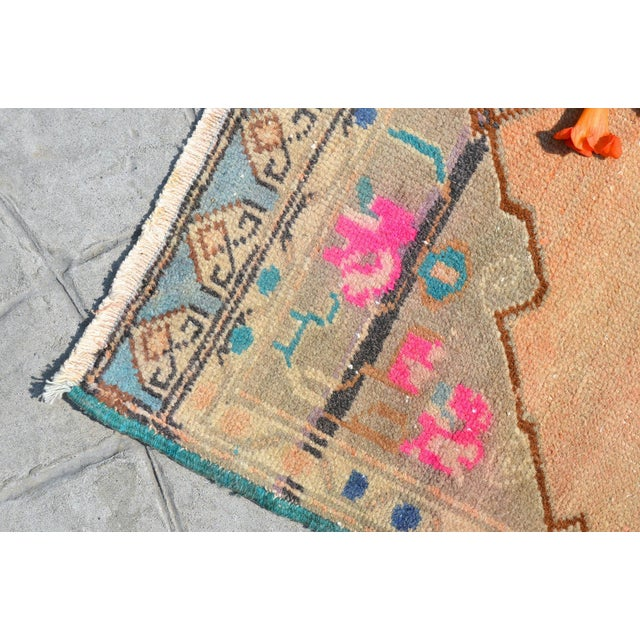 """Hand Made Mini Rugs Front of Kitchen Sink Rug Bath Mat Distressed Rug 1'10"""" X 3'9"""" For Sale - Image 4 of 6"""