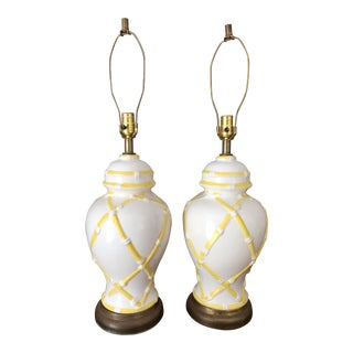 1960s Palm Beach Chinoiserie Yellow Lamps-A Pair For Sale