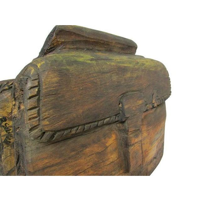 """Brown """"Ol' Saddlebags"""" Folk Art Carved Sculpture For Sale - Image 8 of 10"""