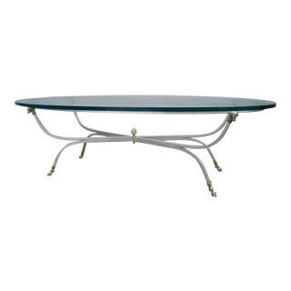 1960s Italian Rams Head Hoof Steel Brass LaBarge Jansen Oval Coffee Table For Sale