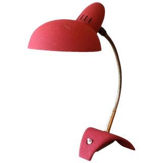 Mid Century Modern Red Gooseneck Desk Lamp For Sale