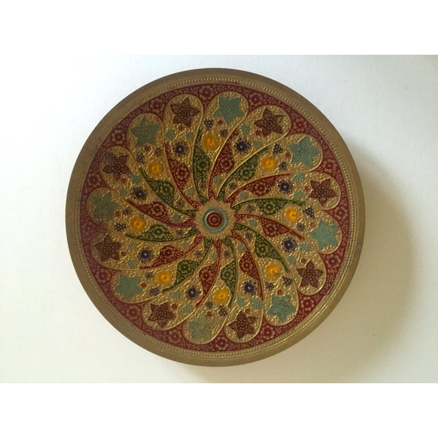 Boho Chic Vintage Moroccan Multicolored Enameled Brass Relief Plate For Sale - Image 3 of 9