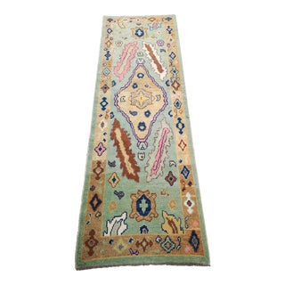 Turkish Contemporary Hand-Knotted Wool Oushak Runner Rug For Sale