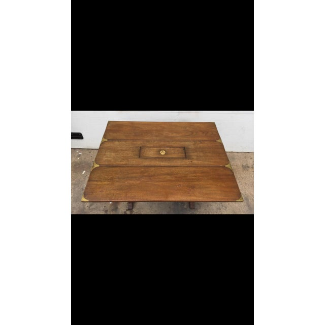 Vintage Campaign Style Drop Leaf Dining Table - Image 4 of 6