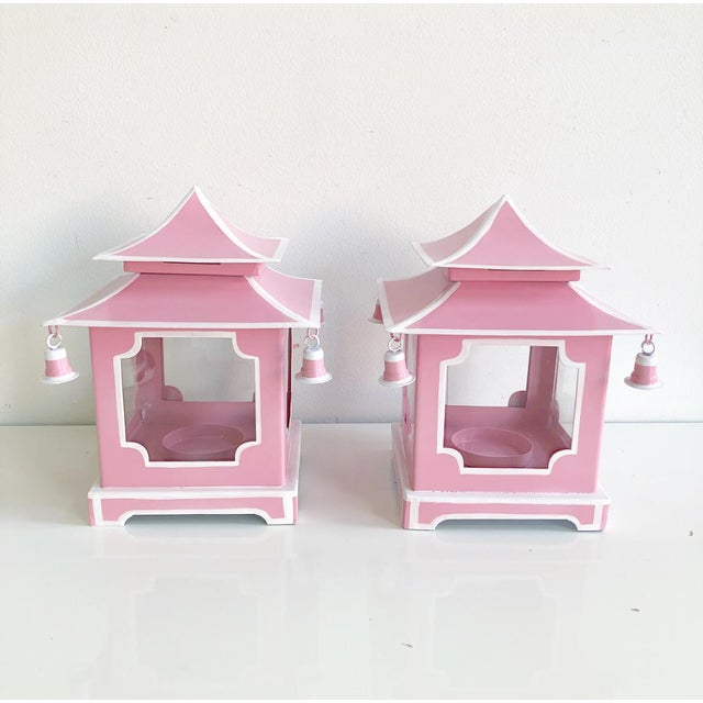 Pair of Pink Pagoda Candle Lanterns With White Stripe Detail With Bells For Sale - Image 13 of 13