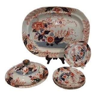 19th Century A. Schmidt & Son Davenport Imari Style Serveware - Set of 8 For Sale