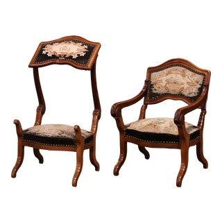 19th Century French Walnut and Tapestry Armchair Convertible to Prayer Kneeler For Sale