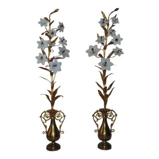 Early 20th Century French Brass Mantle Garnitures With Milk Glass Lilies Flowers Floral Urn Form - a Pair For Sale