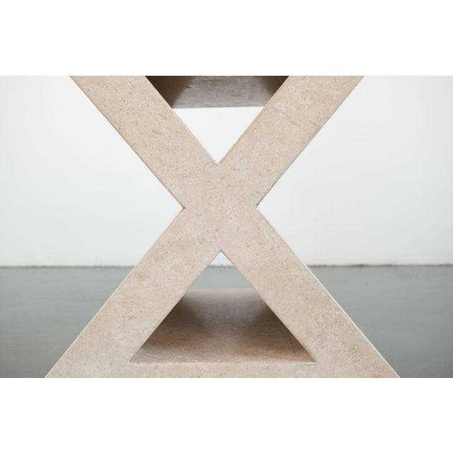Contemporary Modern 'X' Travertine Side Table For Sale - Image 3 of 7