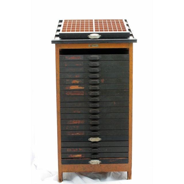 Antique 20-Drawer Letterpress Cabinet & Wood Type - Image 4 of 9