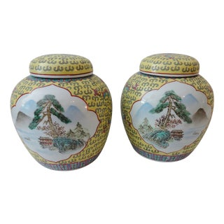 """Chinoiserie Famille Jaune Porcelain Ginger Jars - a Pair 9"""" H For Sale"""