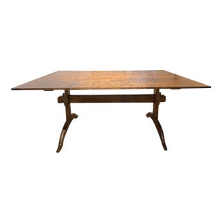 Traditional Tiger Maple Trestle Dining Table For Sale