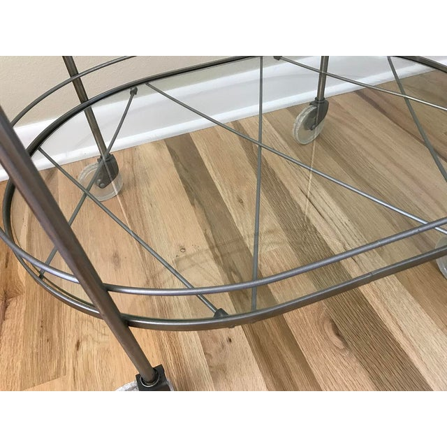 Art Deco Mid Century Vintage Two-Tier Oval Rolling Bar Cart For Sale - Image 3 of 9