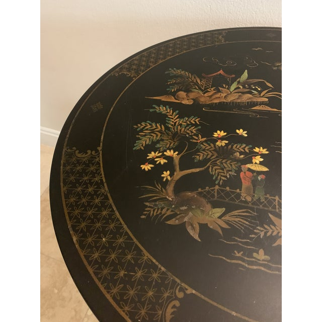 1930s Signed Katherine Henick Hand-Painted Chinoiserie Side Table For Sale - Image 4 of 13