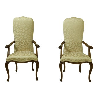 Pair French Louis XV Style Damask Upholstered Armchairs For Sale