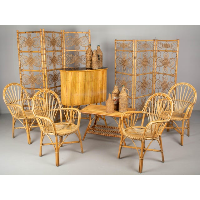 French Bamboo & Rattan Dining Chairs- Set of 4 For Sale - Image 10 of 11