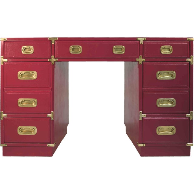 1970s Campaign Partner Desk From Drexel Et Cetera Collection For Sale - Image 9 of 9