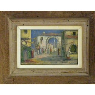 1930s Orientalist Painting on Board of Marrakech Street Scene For Sale