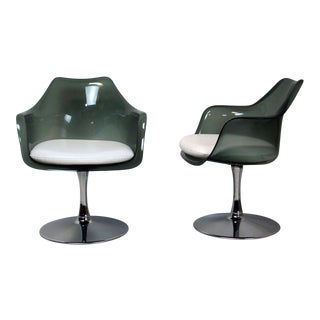 Laverne Style Smoked Lucite Tulip Chairs - a Pair For Sale