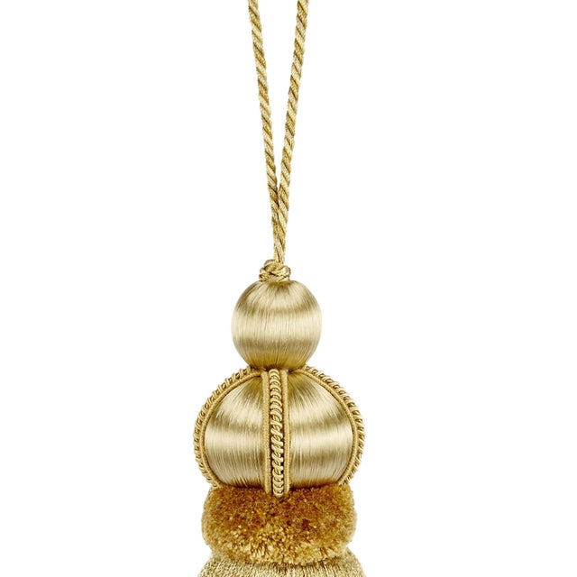 "Art Deco Gold Key Tassel W Cut Ruche - Tassel Height - 5.75"" For Sale - Image 3 of 4"