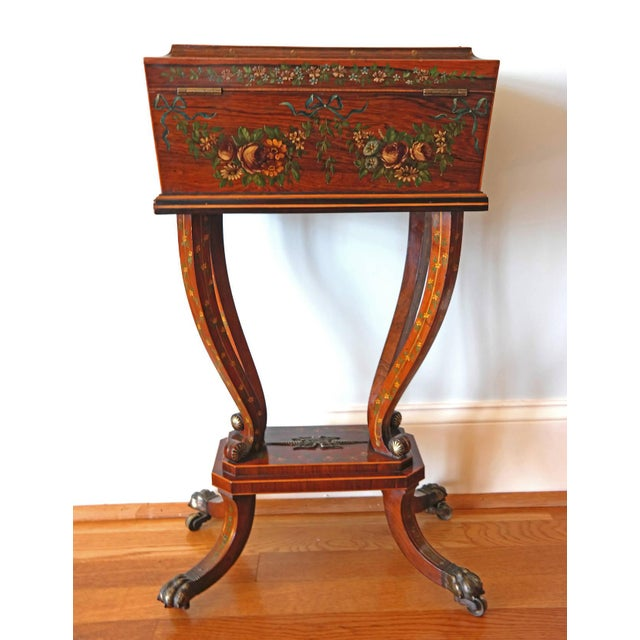 Traditional 19th Century Regency Rosewood Workbox For Sale - Image 3 of 8