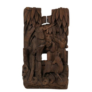 Chinese Antique 3d Wood Carving Panel For Sale