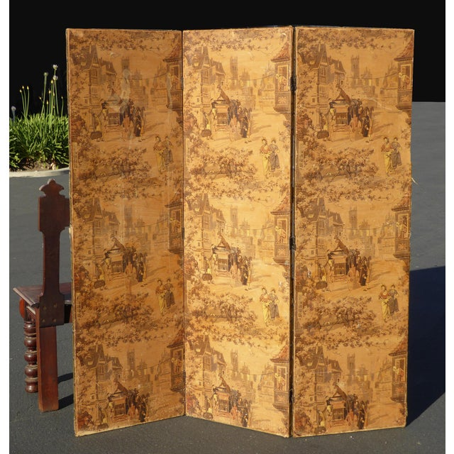 Vintage French Country Yellow 3 Panel Folding Screen - Image 2 of 11