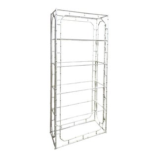 Large Faux Bamboo Iron Étagère in White