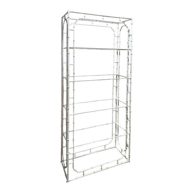 Large Faux Bamboo Iron Étagère in White For Sale
