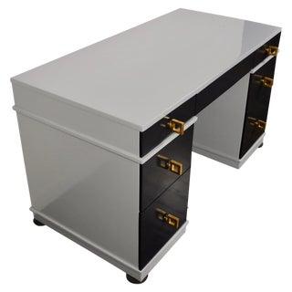 Midcentury Lacquered Double Pedestal Desk For Sale