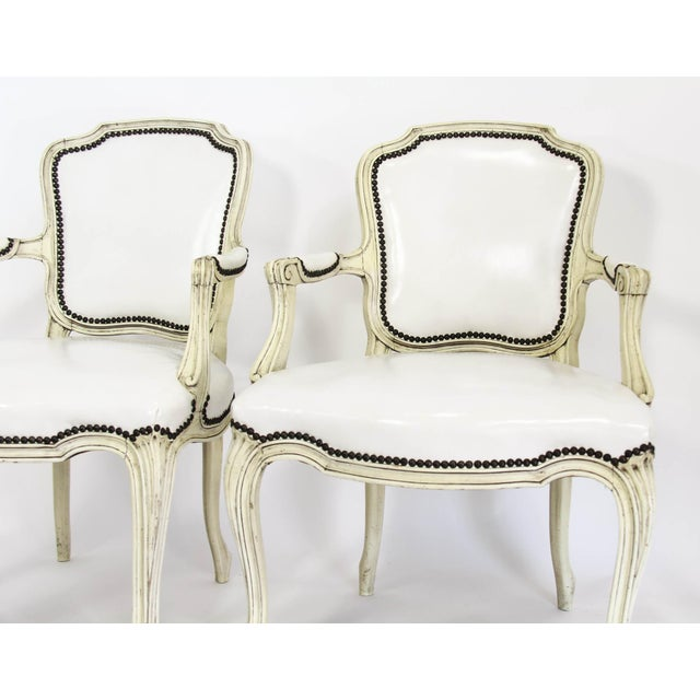 Mid-20th Century Boho Chic Carved Wood and White Leather Arm Chairs - a Pair - Image 3 of 13